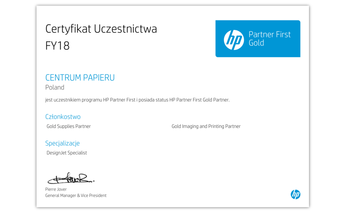 Certyfikat HP Partner First Gold Partner